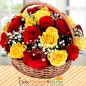 pink and yellow roses flower basket