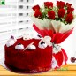half kg eggless red velvet cake n roses flower bouquet