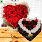 designer heart shape arrangement and half kg black forest cake