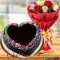half kg chocolate truffle gems heart shape cake and 10 roses bouquet