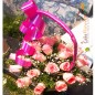 romantic 25 pink roses basket