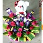 red roses teddy chocolate bouquet