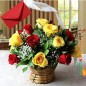 15 red yellow roses basket