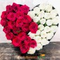 40 red white roses heart shape arrangement