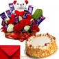 eggless half kg butterscotch cake cake n teddy roses chocolate combo gifts