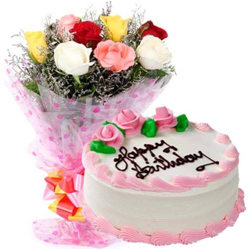 500gms Strawberry Cake with Mix roses Bunch