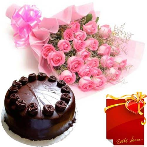 Eggless Chocolate Truffles Cake with Pink Roses Bunch and Card