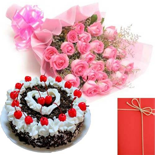 Eggless Black Forest-Cake with Pink Roses Bunch Card