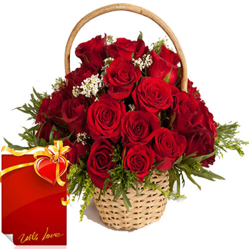Basket of Roses Flowers with Greeting Card