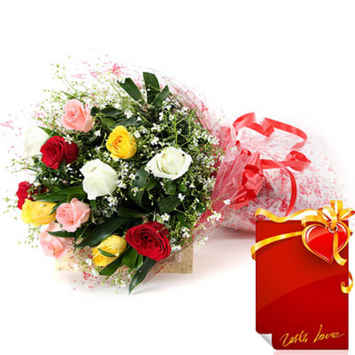 10 Mix Roses Bunch with Greeting Card