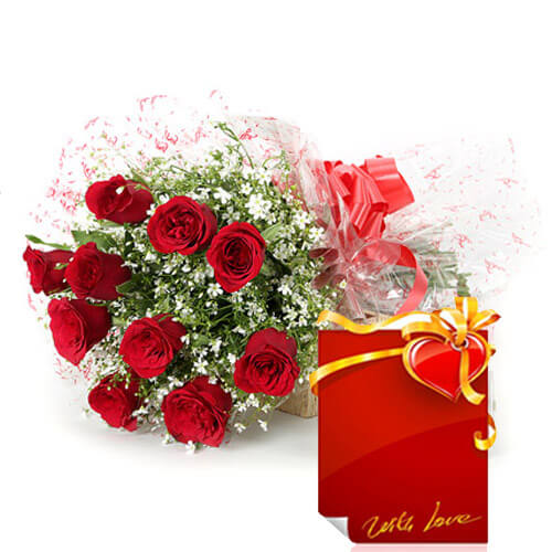 Bunch of 10 Red Roses with Greeting Card