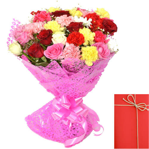 Mix Roses and Carnation Bunch with Card