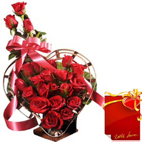 Designer Red Roses Flower Bouquet with Card