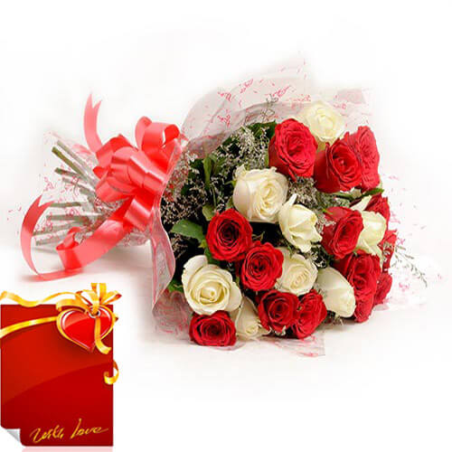Bunch of Red and White Roses with Card