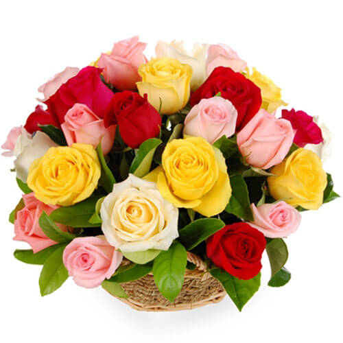 15 Mix Roses Basket