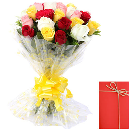 15 Mix Roses Bunch and Card