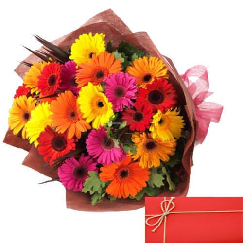 20 Mix Gerberas Bouquet with Card