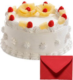 Eggless Half Kg Pineapple Cake with Card