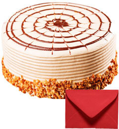 Eggless Half Kg Butterscotch Cake with Card