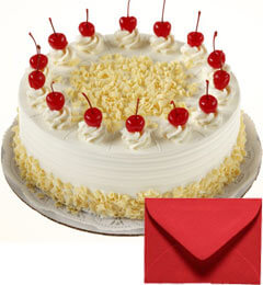 Eggless Half Kg White-Forest Cake with Card