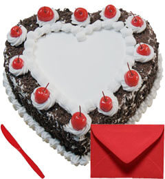 Eggless Heart Shape Blackforest Cake 1Kg with Card