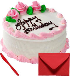 Eggless 1Kg Strawberry Cake With Card