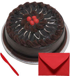 Eggless 1Kg Chocolate Truffle Cake With Card