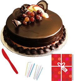 Half Kg Eggless Chocolate Truffle Cake n Greeting Card For Any Occasion