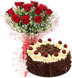 Eggless Black Forest Cake N Red Roses Bouquet