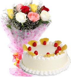 Eggless Pineapple Cake n Mix Roses