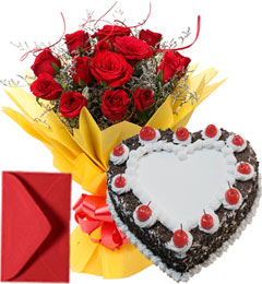1Kg Eggless Heart Shape Black Forest Cake n Red Roses Bouquet