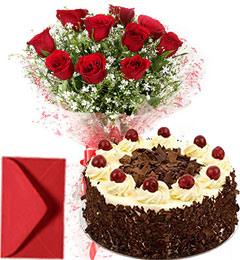 1Kg Eggless black Forest Cake n Red Roses Bouquet