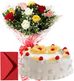 1Kg Eggless Pineapple Cake n Mix Roses