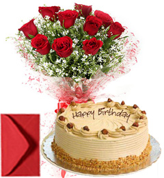 1Kg Eggless Butterscotch Cake n Red Roses