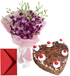 Eggless Hart Shape Black Forest n Orchid Bouquet