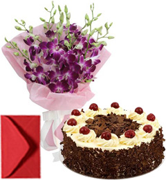 Orchids Bouquet n Half Kg Eggless Black Forest Cake