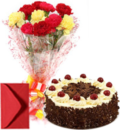 Mix Carnations Bouquet Eggless black Forest Cake