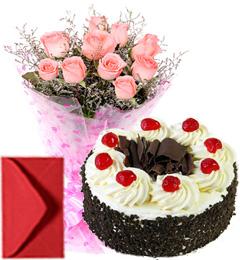 Pink Roses Bouquet Half Kg Eggless Black Forest Cake