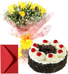 Yellow Roses Bouquet Half Kg Eggless Black Forest Cake