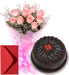 Pink Roses Bouquet Half Kg Eggless Chocolate Cake
