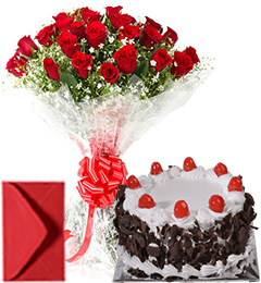Big Roses Bouquet n Eggless Black Forest Cake