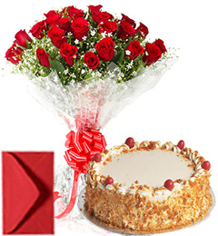 Big Roses Bouquet n Eggless Butterscotch Cake