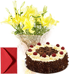 Lilies Bouquet  n Eggless Black Forest Cake