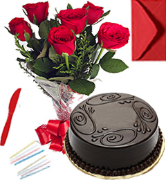 Any Occasion Eggless Chocolate Truffle Cake n Roses Bunch