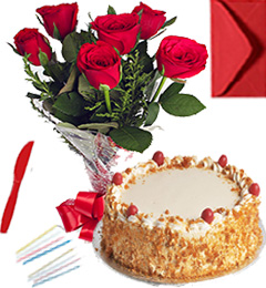 Any Occasion Eggless Butterscotch Cake n Roses Bunch