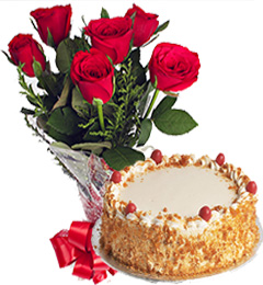 Butterscotch Cake n Red Roses Bunch