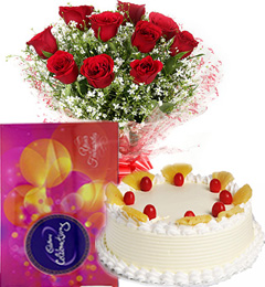 Red Roses Bouquet Eggless Pineapple Cake n Cadbury Celebrations Box