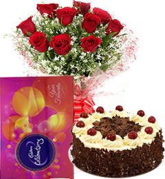 Red Roses Bouquet Eggless Black Forest Cake n Cadbury Celebrations Box