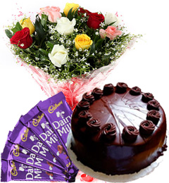 Mix Roses Bouquet Eggless Truffle Cake n Chocolate