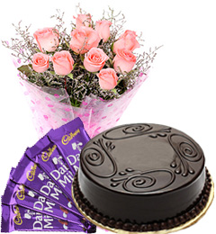 Eggless Truffle Cake Pink Roses Bouquet N Chocolate